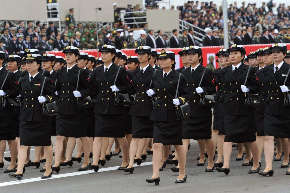Female soldiers during a parade of the Japanese Self-Defence forces.