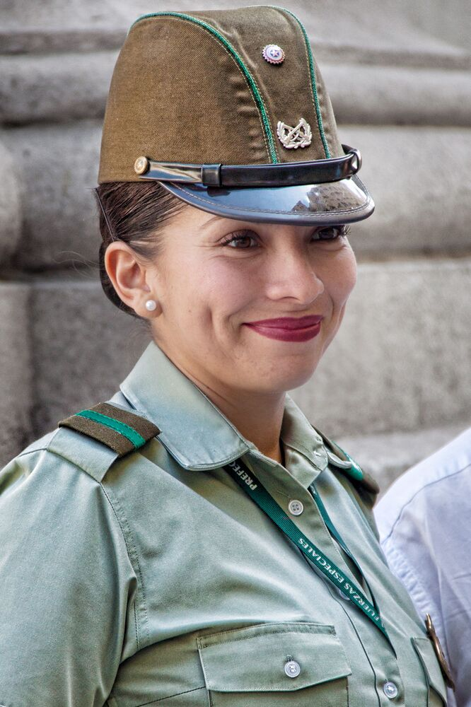 A female soldier in Santiago, Chile.