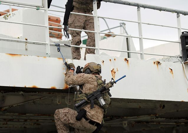 Sailors with the US Naval Special Warfare Unit 2 climb a ladder to reach the second floor of a ship in Lisbon, Portugal on October 24, 2015 during NATO exercise Trident Juncture 15