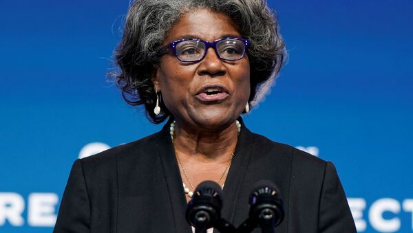 Linda Thomas-Greenfield, U.S. President-elect Joe Biden's choice to become the next U.S. ambassador to the United Nations, speaks as President-elect Biden announces his national security nominees and appointees at his transition headquarters in Wilmington, Delaware, U.S., November 24, 2020 - Sputnik International