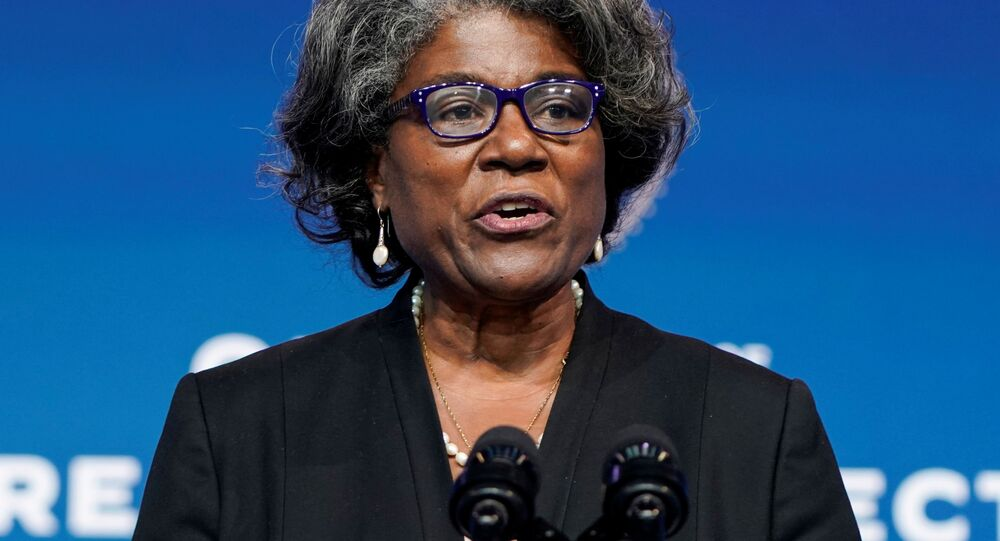 Linda Thomas-Greenfield, U.S. President-elect Joe Biden's choice to become the next U.S. ambassador to the United Nations, speaks as President-elect Biden announces his national security nominees and appointees at his transition headquarters in Wilmington, Delaware, U.S., November 24, 2020