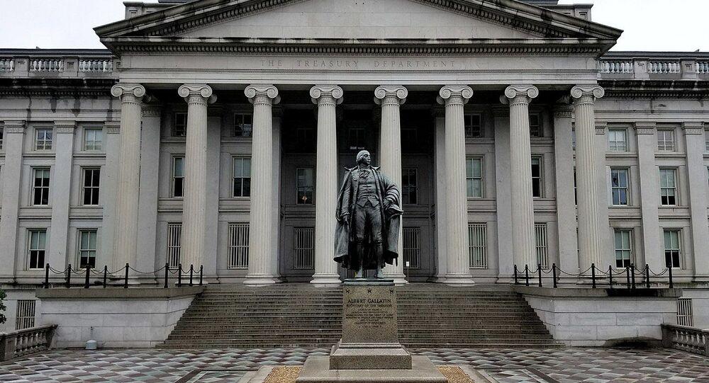 U.S. Treasury Building and Albert Gallatin Statue