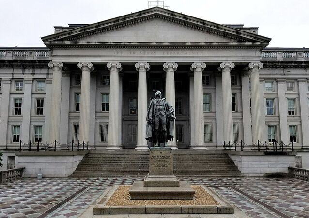 U.S. Treasury Building and Albert Gallatin Statue