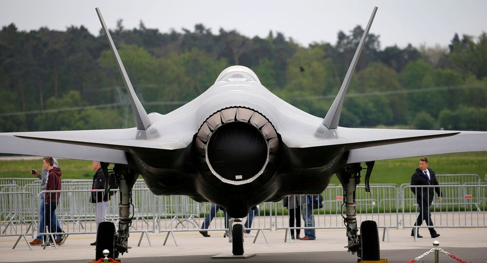 A Lockheed Martin F-35 aircraft is seen at the ILA Air Show in Berlin, Germany, 25 April 2018.