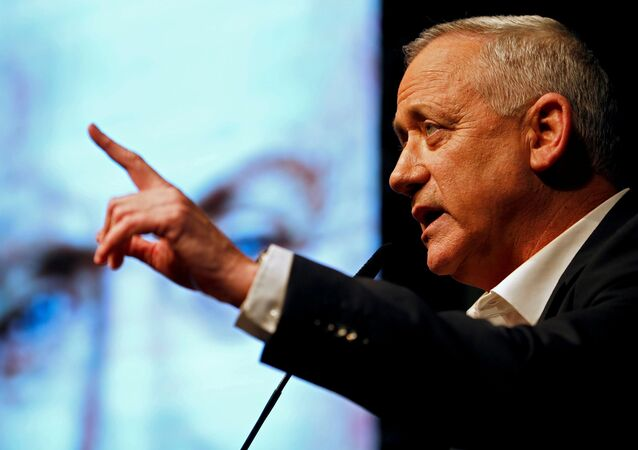 Benny Gantz, leader of Blue and White party, speaks during an election campaign rally in Ramat Gan, near Tel Aviv, Israel, February 25, 2020