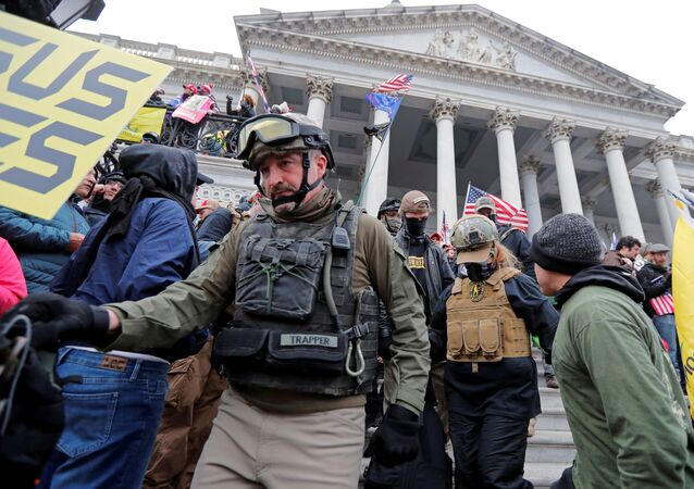 Members of the Oath Keepers are seen among supporters of U.S. President Donald Trump at the U.S. Capitol during a protest against the certification of the 2020 U.S. presidential election results by the U.S. Congress, in Washington, U.S., January 6, 2021.