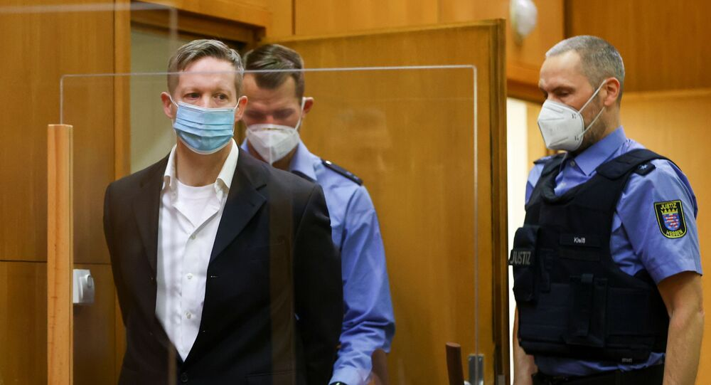 Main defendant Stephan Ernst arrives at the courtroom as he waits for the verdict in the case of the murder of Walter Luebcke, at the Higher Regional Court in Frankfurt, Germany, 28 January 2021