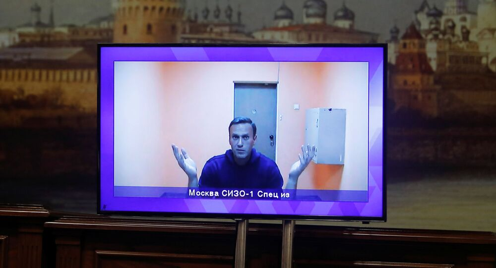 Russian opposition leader Alexey Navalny is seen on a screen via a video link during a court hearing to consider an appeal on his arrest outside Moscow, Russia 28 January 2021.