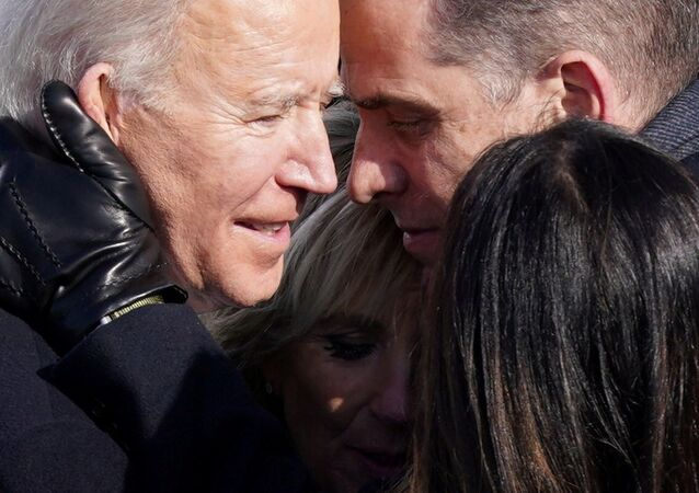 U.S. President Joe Biden embraces his family after he was sworn in as the 46th President of the United States on the West Front of the U.S. Capitol in Washington, U.S., January 20, 2021.