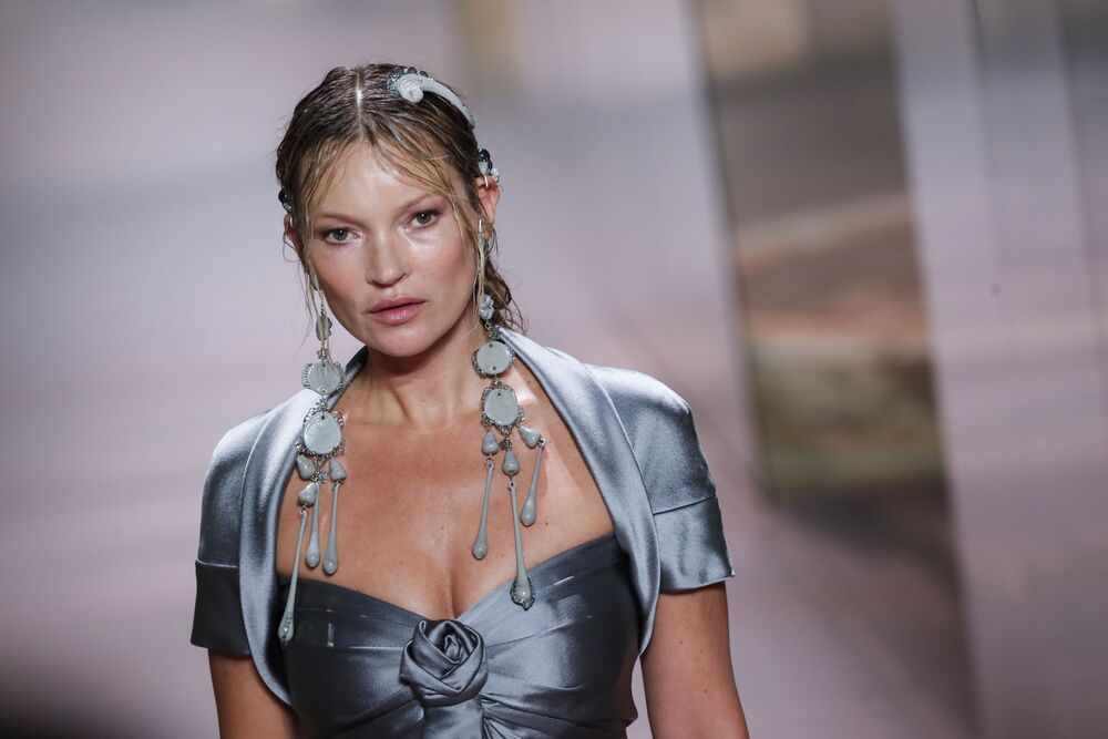 Model Kate Moss models a creation for Fendi's Spring-Summer 2021 Haute Couture fashion collection presented Wednesday, 27 January 2021 in Paris.