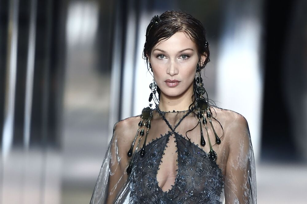 US model Bella Hadid presents a creation of British designer Kim Jones for Fendi's Spring-Summer 2021 collection during the Paris Haute Couture Fashion Week, in Paris, on 27 January 2021.