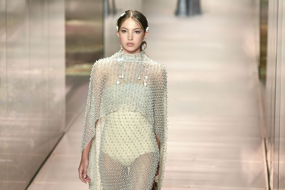 British model Lila Grace Moss-Hack presents a creation by British designer Kim Jones for Fendi's Spring-Summer 2021 collection during the Paris Haute Couture Fashion Week, in Paris, on 27 January 2021.