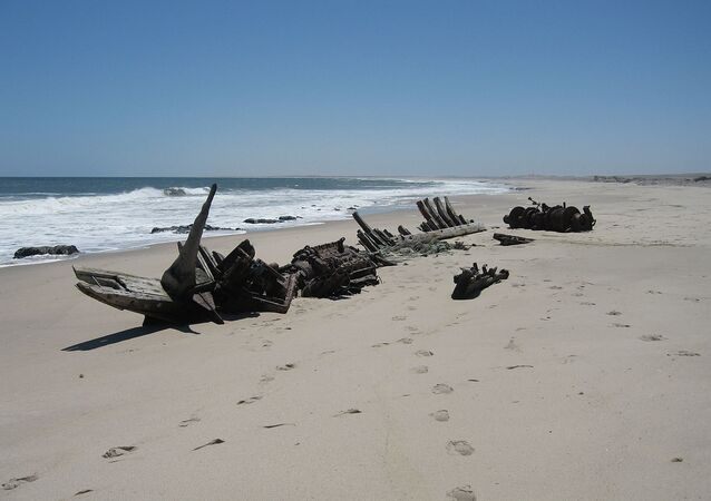 Shipwreck of the «Southwest Seal» (1976) at the Skeleton Coast, Namibia