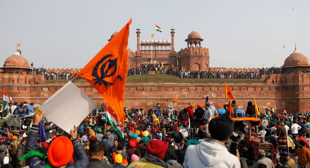 Farmers participate in a protest against farm laws introduced by the government, at the historic Red Fort in Delhi, India, January 26, 2021