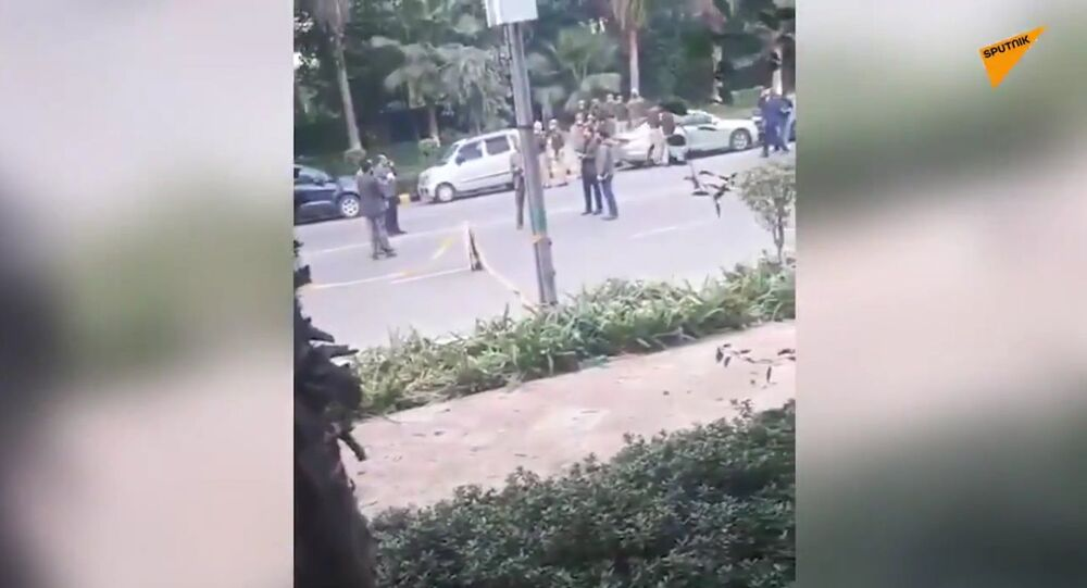 Footage not far from the scene of the explosion