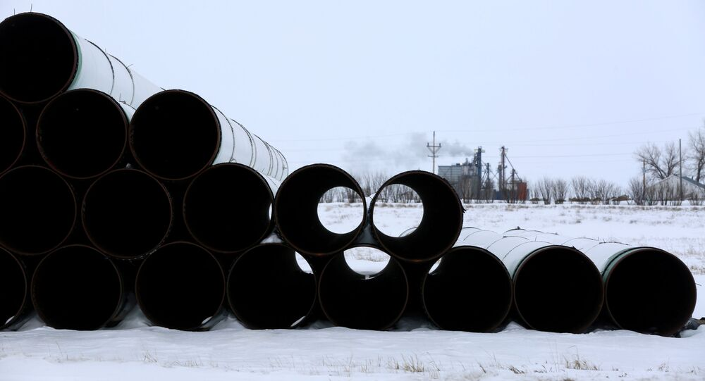 A depot used to store pipes for the planned Keystone XL oil pipeline is seen in Gascoyne, North Dakota, January 25, 2017.