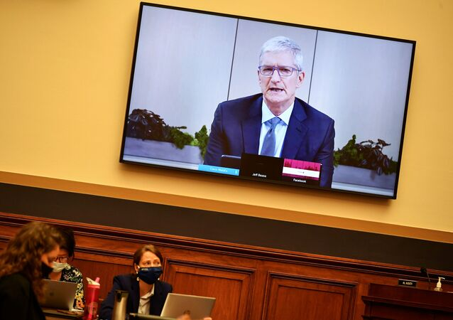 Apple CEO Tim Cook testifies before the House Judiciary Subcommittee on Antitrust, Commercial and Administrative Law on Online Platforms and Market Power, in the Rayburn House office Building on Capitol Hill