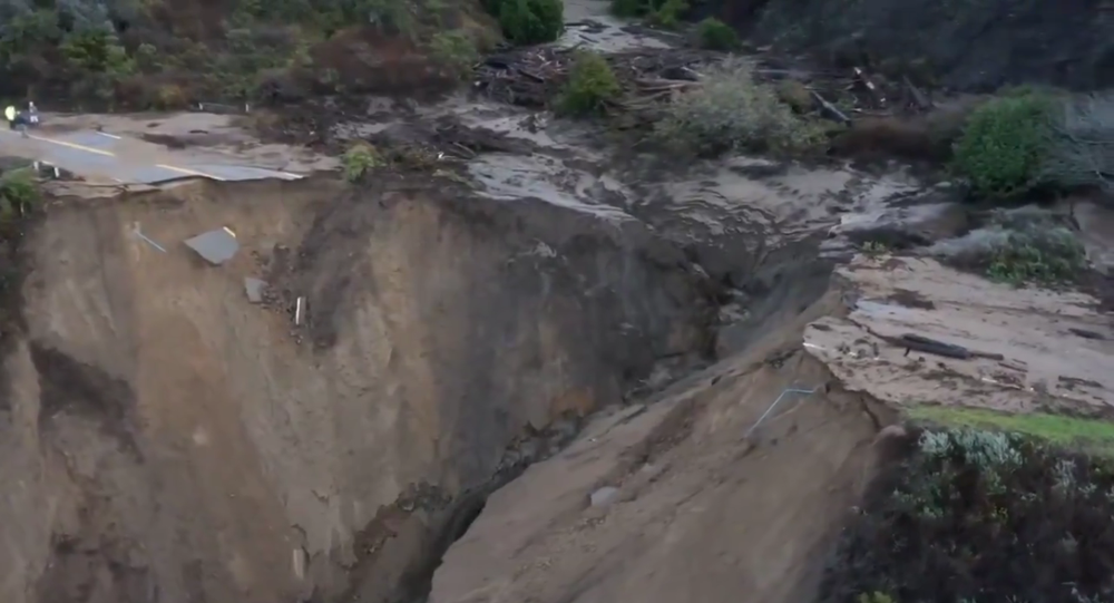 California's Highway 1 washed out by a landslide on January 29, 2021