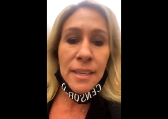 Screenshot from the video showing Republican Representative Marjorie Taylor Greene during her alleged altercation with Democratic Representative Cori Bush in the Congress hallway