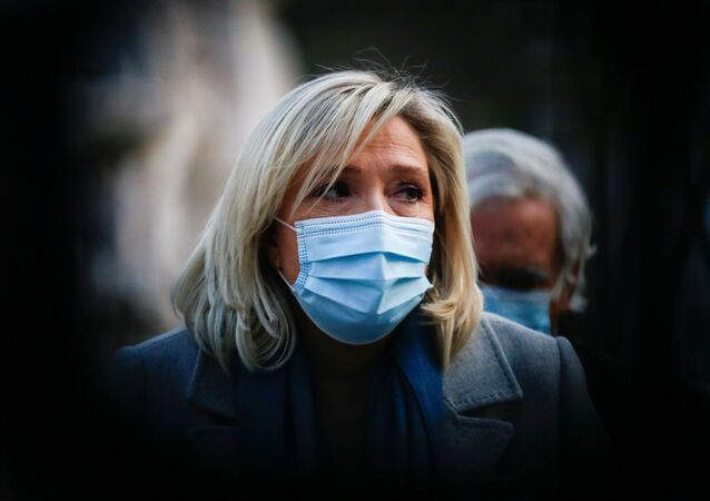 Marine Le Pen, leader of France's National Rally party attends a news conference with Portugal's far-right presidential candidate Andre Ventura (not pictured) in Lisbon, Portugal, 8 January 2021