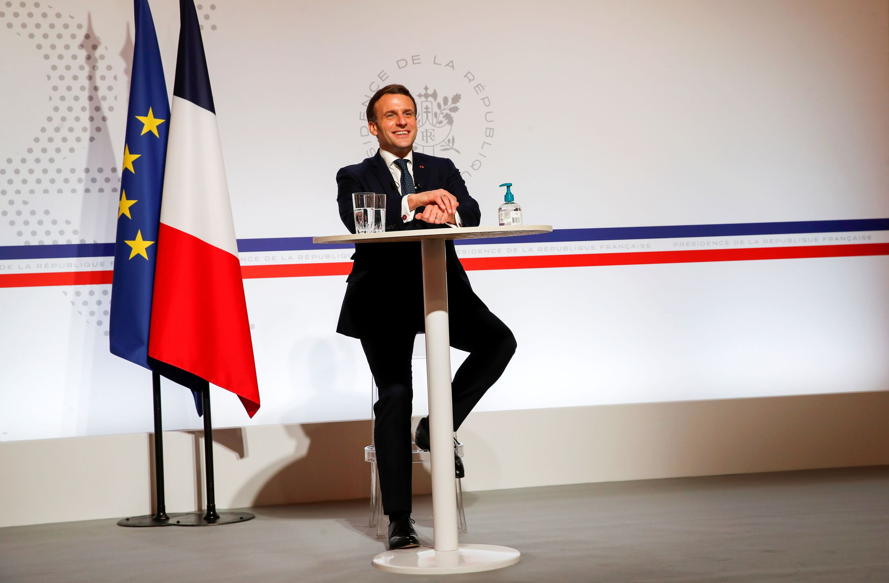 French President Emmanuel Macron speaks via video with Founder and Executive Chairman of the World Economic Forum (WEF) Klaus Schwab during the WEF of the Davos Agenda, at the Elysee Palace in Paris, France January 26, 2021