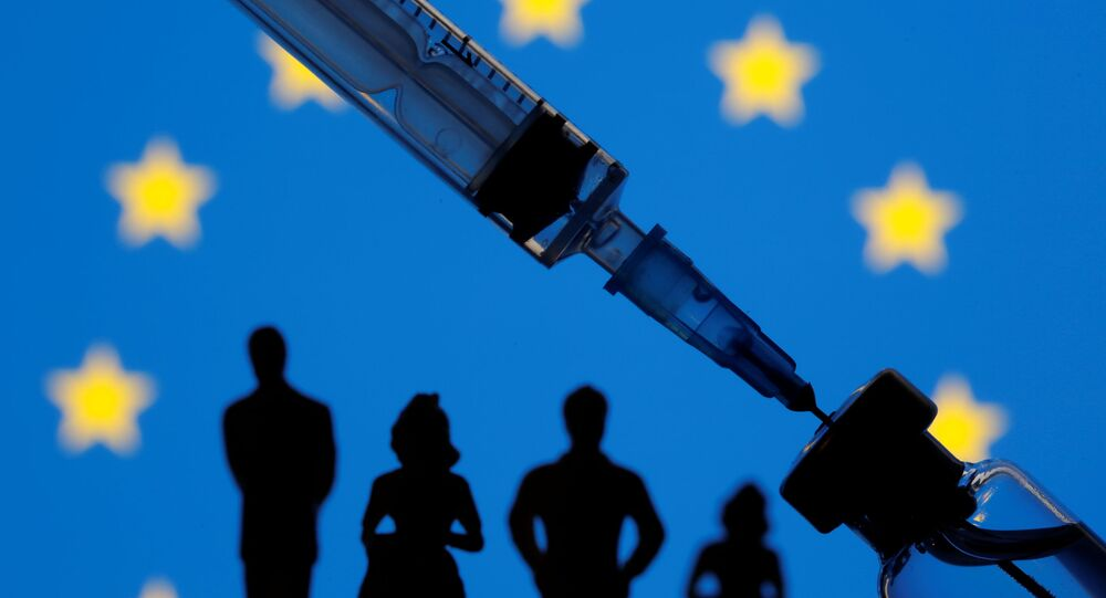 A vial, sryinge and small toy figures are seen in front of a displayed EU flag in this illustration taken January 11, 2021.