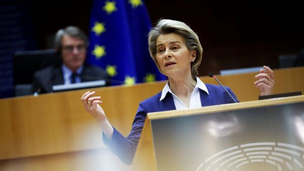 European Commission President Ursula Von Der Leyen addresses European lawmakers during a plenary session on the inauguration of the new President of the United States and the current political situation, at the European Parliament in Brussels, Belgium, 20 January 2021 - Sputnik International