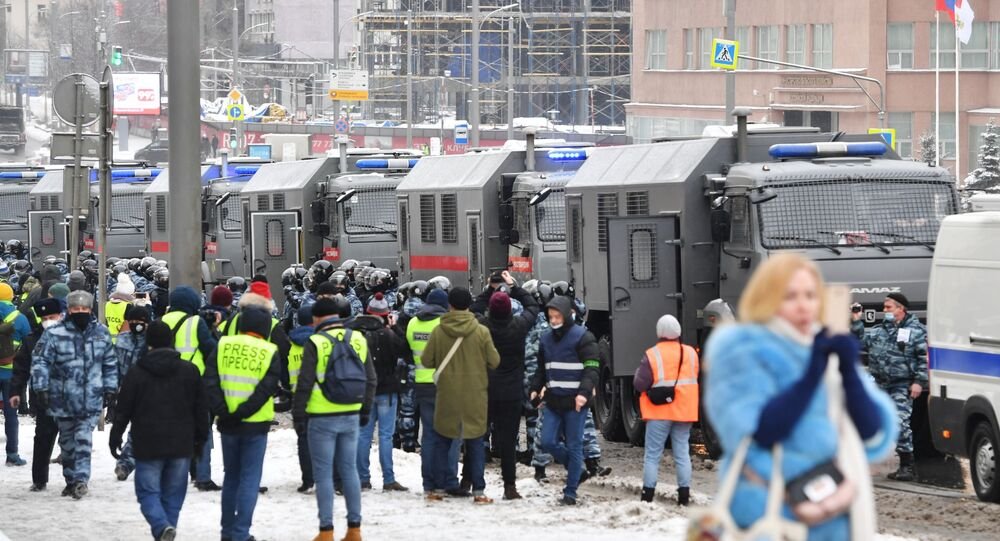 Riot police are on alert ahead of an unauthorised rally in Moscow, 31 January 2021