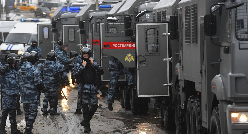 Riot police prepare for an unauthorised rally of Navalny supporters in Moscow, 31 January 2021