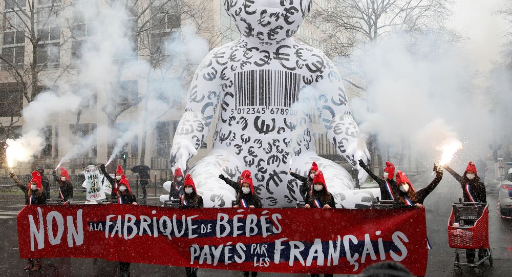 Members of the Manif Pour Tous (Demonstration For All) attend a protest against medically assisted procreation PMA, surrogate motherhood GPA and the bioethics bill in front of the Health Ministry in Paris, France, 16 January 2021. The banner reads: No to the baby factories paid by French people.