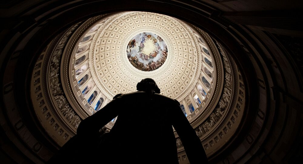 The Rotunda of the U.S. Capitol, viewed from behind a statue of former U.S. President George Washington, in Washington, U.S., January 25, 2021
