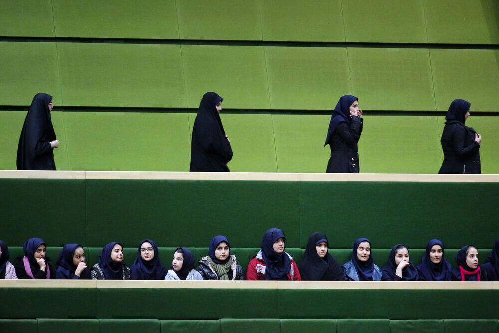 Iranian school-girls attend President Hassan Rouhani's speech to parliament on 17 January 2016.