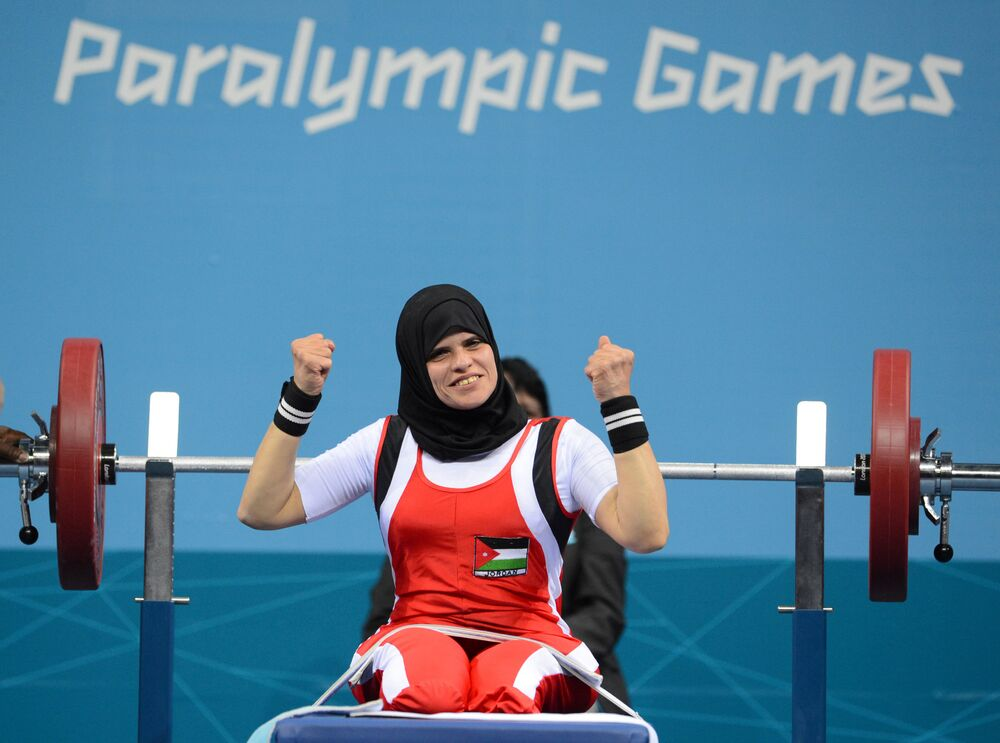Jordanian athlete Fatama Ahmed during powerlifting competitions among women in the 52 kg category at the XIV Paralympic Games in London