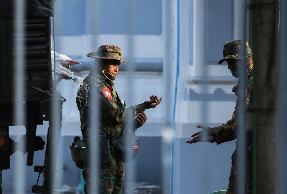 Myanmar soldiers are seen inside City Hall in Yangon, Myanmar 1 February 2021.