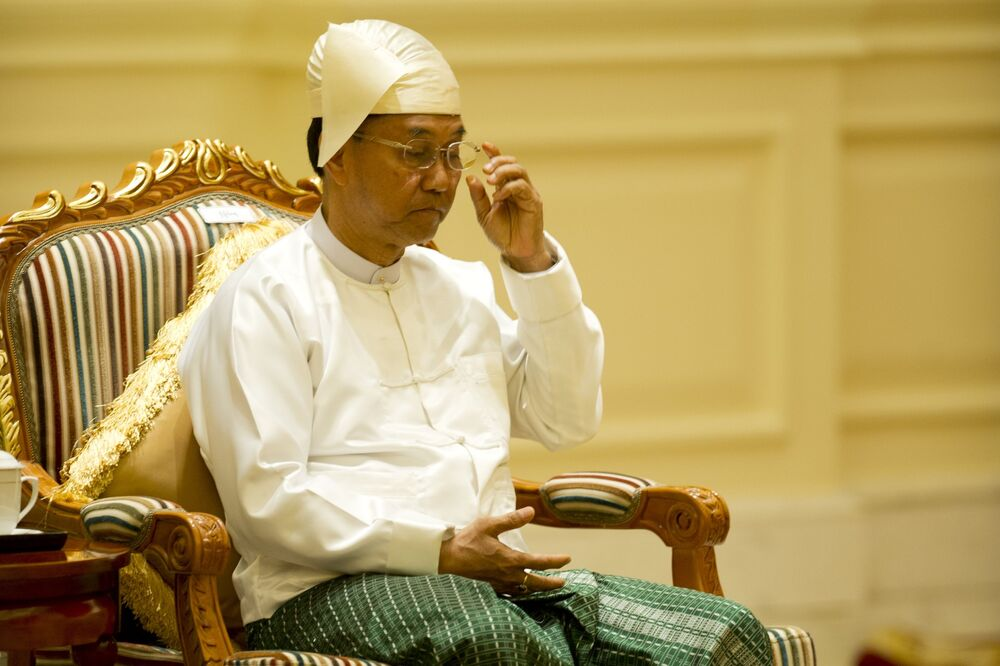 In this file photo taken on 30 March 2016, Myanmar's vice-president Myint Swe attends a ceremony at the presidential palace in Naypyitgaw. Myint Swe, a former general who ran the powerful Yangon military command and is vice-president of Myanmar, will become acting president for the next year, as the military detained the country's de facto leader Aung San Suu Kyi and the country's president in a coup on 1 February 2021.