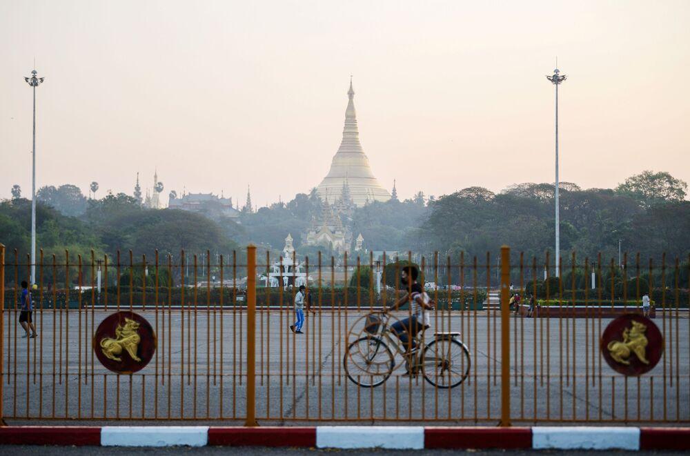 Shwe Dagon pagoda is seen in Yangon, Myanmar 1 February 2021.