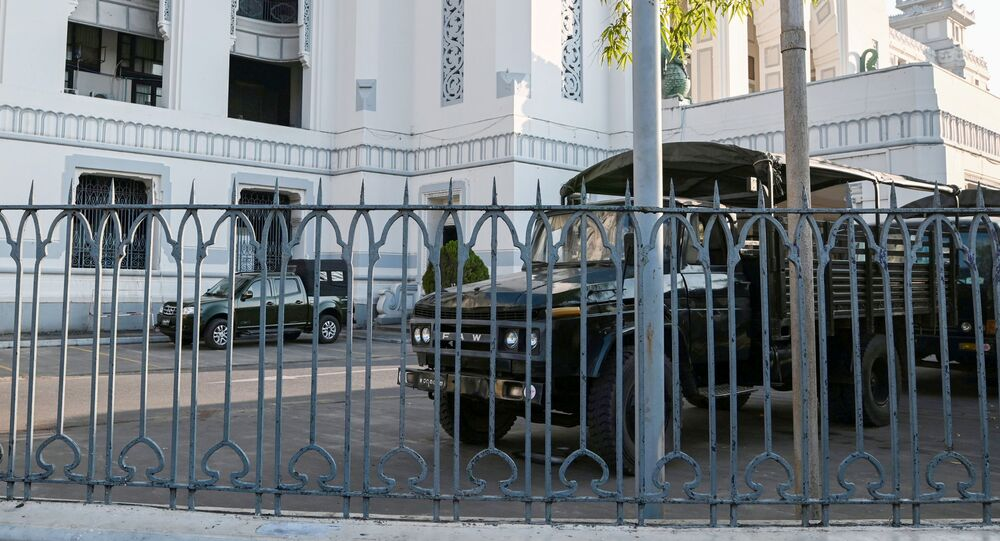 Myanmar military vehicles are seen inside City Hall in Yangon, Myanmar February 1, 2021.