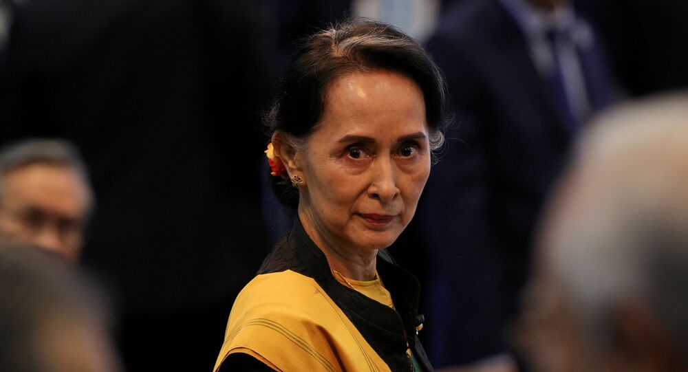 Myanmar State Counselor Aung San Suu Kyi attends the opening session of the 31st ASEAN Summit in Manila