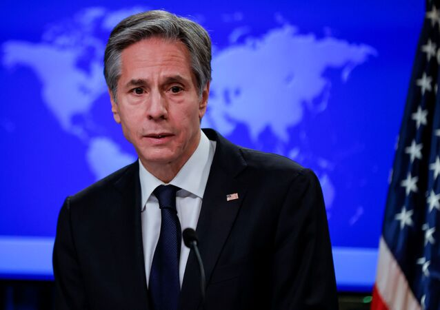 Newly confirmed U.S. Secretary of State Antony Blinken addresses reporters during his first press briefing at the State Department in Washington, U.S., January 27, 2021.
