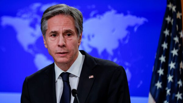 Newly confirmed U.S. Secretary of State Antony Blinken addresses reporters during his first press briefing at the State Department in Washington, U.S., January 27, 2021. - Sputnik International
