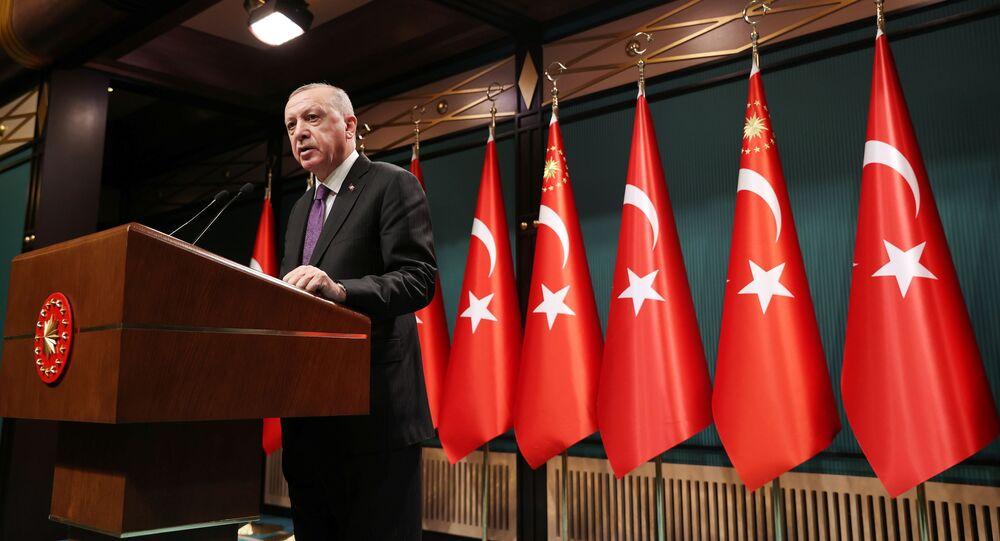 Turkish President Tayyip Erdogan speaks during a news conference following a cabinet meetingin Ankara, Turkey February 1, 2021.