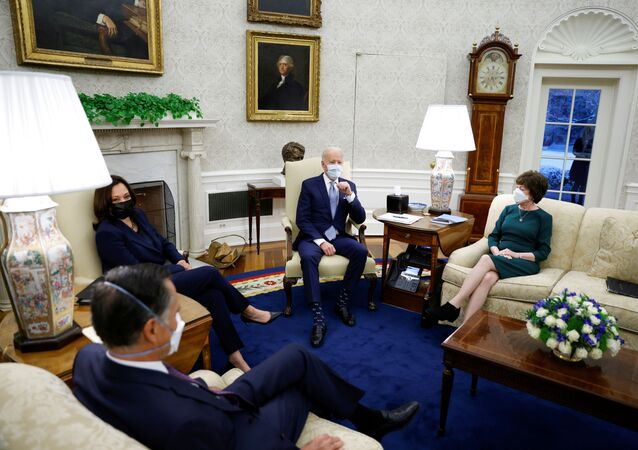 U.S. President Joe Biden and Vice President Kamala Harris meet with a group of Republican Senators to discuss coronavirus disease (COVID-19) federal aid legislation inside the Oval Office at the White House in Washington, U.S., February 1, 2021.