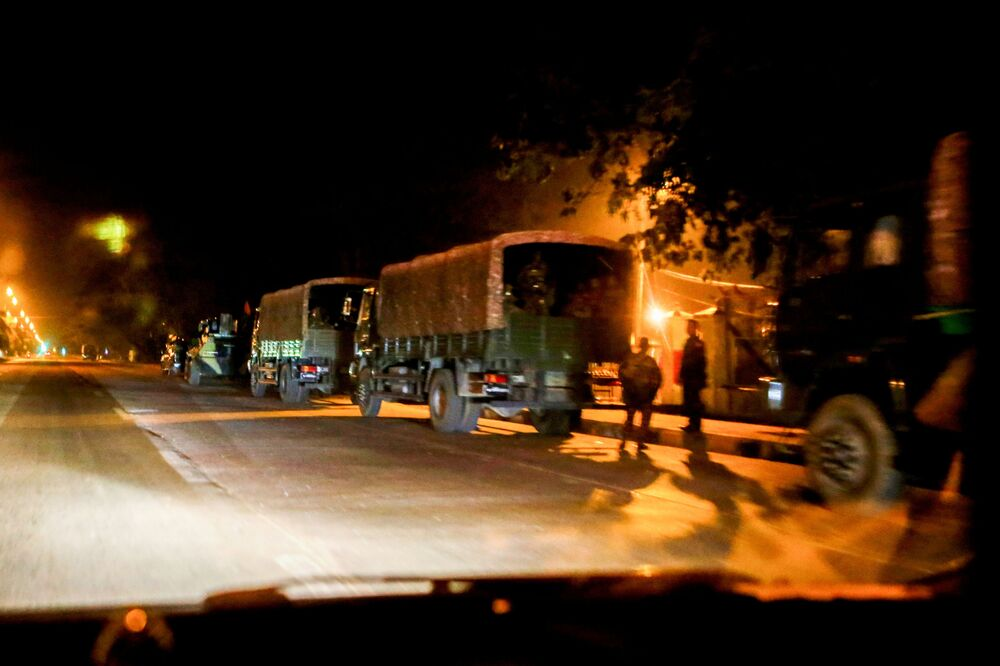 A Myanmar military checkpoint is seen on the way to the congress compound in Naypyitaw, Myanmar, 1 February 2021.