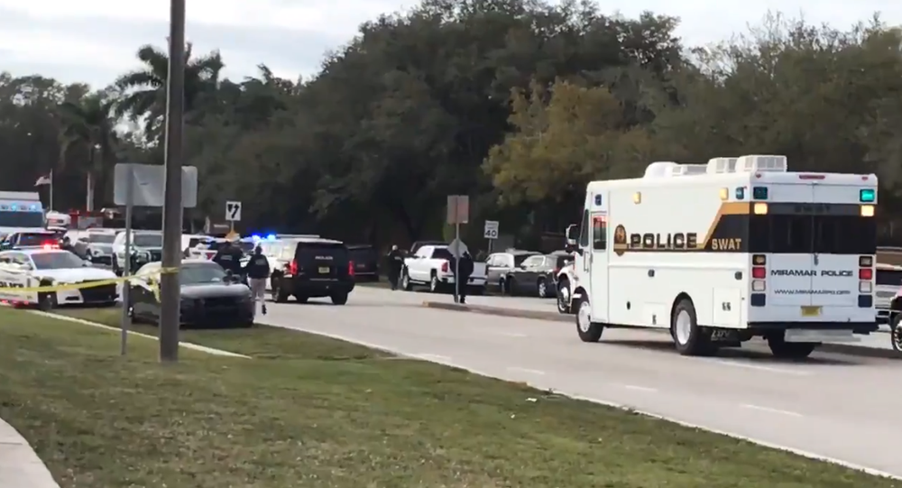 Footage from near the scene of an FBI shootout with a suspect which left two agents dead and three wounded.