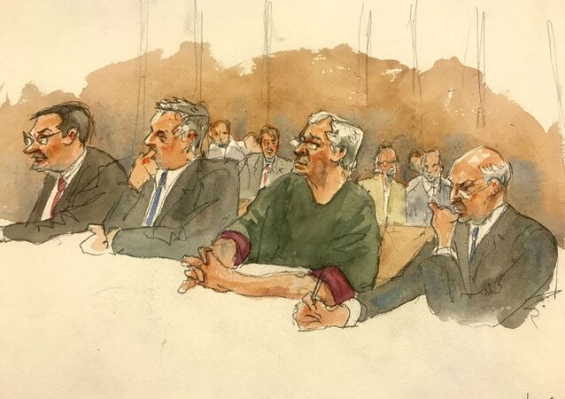 In this courtroom sketch, defendant Jeffrey Epstein, second from right, listens along with defence attorneys, from left, Marc Fernich, Michael Miller, and Martin Weinberg as Judge Richard M. Berman denies him bail during a hearing in the federal court, Thursday, 18 July 2019 in New York. Judge Berman denied bail for the jailed financier on sex-trafficking charges, saying the danger to the community that would result if the jet-setting defendant were free formed the heart of this decision.