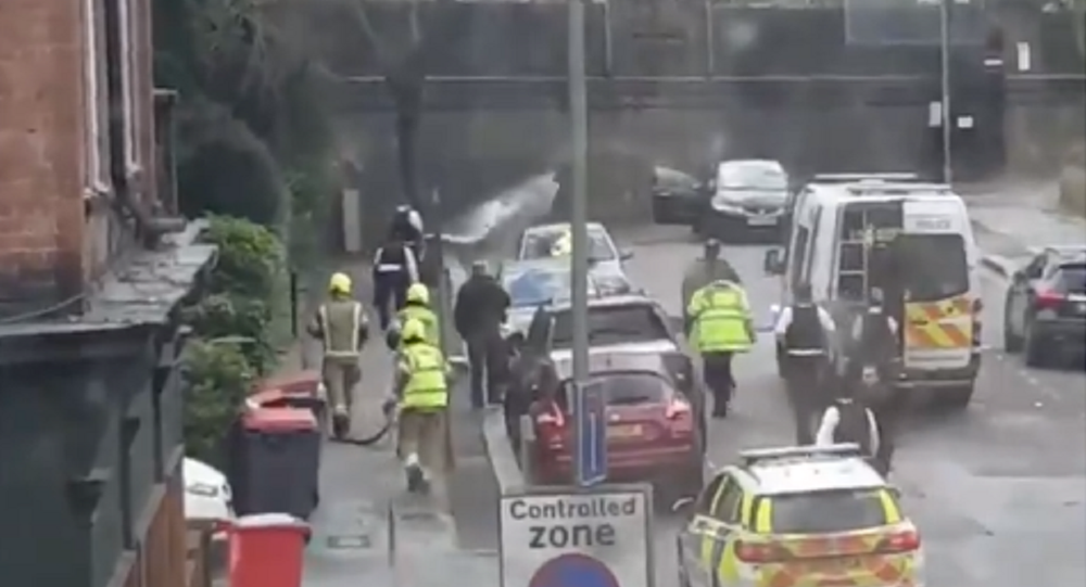Screenshot of video of incident in London involving a petrol bomb.