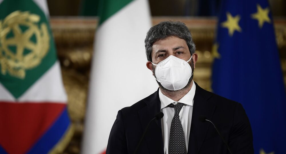 President of the Lower Chamber Roberto Fico leaves after reporting the outcome of the meetings he was mediating to find an agreement for a new government to Italian President Sergio Mattarella at the Quirinale presidential palace, in Rome, Tuesday, Feb. 2, 2021.