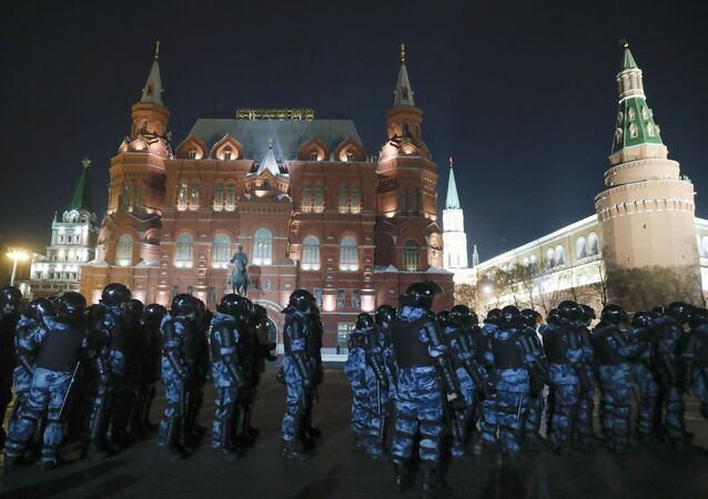Servicemen of the Russian National Guard (Rosgvardia) gather at the Red Square to prevent a protest rally in Moscow, Russia, Tuesday, Feb. 2, 2021.