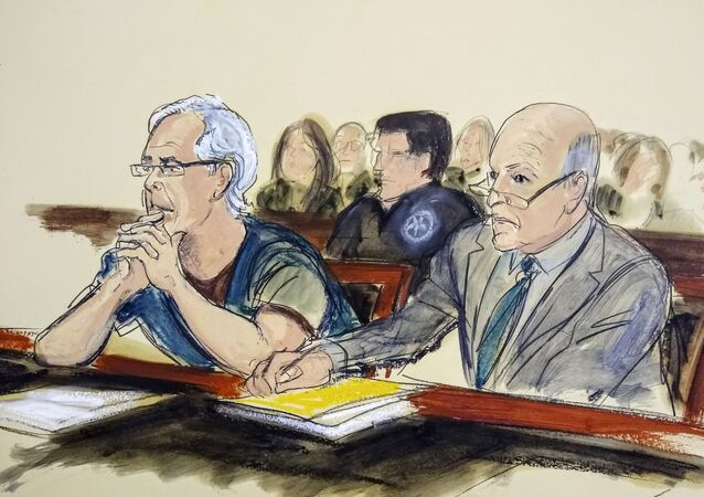 In this July 15, 2019 courtroom artist's sketch, defendant Jeffrey Epstein, left, and his attorney Martin Weinberg listen during a bail hearing in federal court, in New York