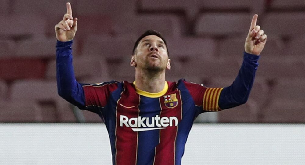 Barcelona's Lionel Messi celebrates scoring their first goal on January 31, 2021